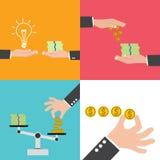 Kaufende Ideen für Geld, Hintergrund des guten Preis-Leistungs-Verhältnisses Lizenzfreies Stockbild