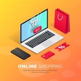 Kaufende isometrische Illustration des on-line-Laptops lizenzfreie abbildung
