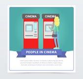 Kaufende Karten der jungen Frau im automatischen Automaten des Kinos, Leute im flachen Vektorelement der Kinofahne für Website Stockfotografie
