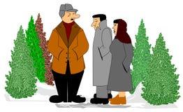 Kaufende Zeit des Weihnachtsbaums Stockfoto