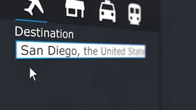 Kaufender Flugschein nach San Diego online Reisen zur Begriffs-Wiedergabe 3D Vereinigter Staaten lizenzfreie stockbilder