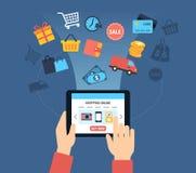 Kaufender on-line-Hintergrund Lizenzfreies Stockbild