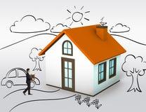 Kaufendes erstes Haus Stockbilder