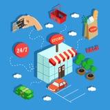 Kaufendes isometrisches Konzept mit in Verbindung stehenden Elementen auf hellblauem Hintergrund Stockfotografie