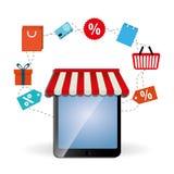 Kaufendes on-line-Design, Vektorillustration Stockbild