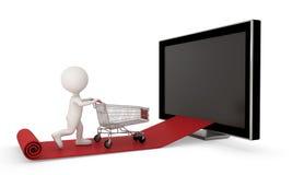 Kaufendes on-line-Konzept mit Whiteman, Beschneidungspfad eingeschlossen Stockfoto