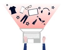 Kaufendes kaufendes on-line-Produkt des flachen Entwurfs stock abbildung