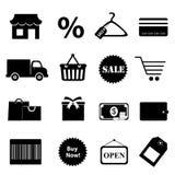 Kaufendes in Verbindung stehendes Ikonenset Stockfotografie