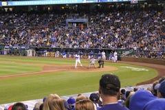 Kauffman Field ball hits umpire at home base Stock Image