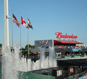 Kauffman Field flags and fountain Royalty Free Stock Image
