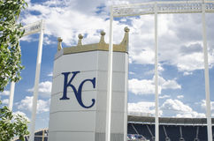 Kauffman Stadium AKA Kansas City Royals. This is Kansas City Kauffman Royals Stadium in Missouri royalty free stock photography