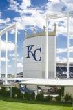 Kauffman Stadium AKA Kansas City Royals. This is Kansas City Kauffman Royals Stadium in Missouri, this is the front of the stadium facing the highway Stock Photos