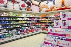 Kaufland大型超级市场的内部 免版税库存图片