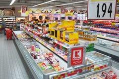 Kaufland大型超级市场的内部 库存照片