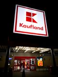 Kaufland Store logo on the entrance stock photo