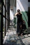 Kaukasisch meisje dat droefheid uitdrukt Stock Foto