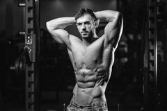 Kaukasisch sexy geschiktheidsmodel in gymnastiek dichte omhooggaande abs Royalty-vrije Stock Afbeelding