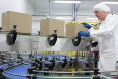 Kaukasische arbeider in witte schort bij verpakkingslijn stock afbeeldingen