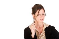 Kaukasische bedrijfsvrouw die geërgerda kijkt Stock Foto