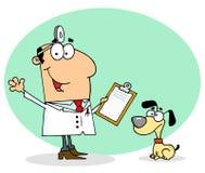 Kaukasische beeldverhaal honds veterinaire mens stock illustratie