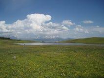 Kaukasische bergvallei Stock Afbeeldingen