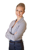 Kaukasische blonde Geschäftsfrau in der Klage Lizenzfreies Stockfoto