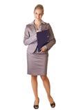 Kaukasische blonde Geschäftsfrau im Klageholdingring Stockbild