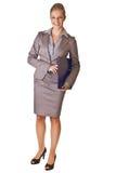 Kaukasische blonde Geschäftsfrau im Klageholdingring Stockfoto
