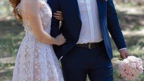Kaukasische Braut und Bräutigam, die im Kiefernholz aufwirft stock video