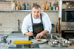 Kaukasische chef-kok die voedsel op een plaat in een restaurantkeuken zet royalty-vrije stock fotografie