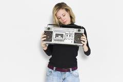 Kaukasische Dame Jukebox Music Concept Stock Fotografie