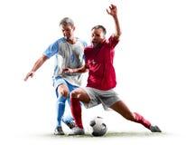 Kaukasische die voetballers op witte achtergrond worden geïsoleerd royalty-vrije stock fotografie