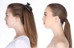 Kaukasische Frau vorher nach bilden Haar tun kein überarbeiten Sie, frisch stockfoto