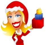 Kaukasische Frauen-Holding-Weihnachtsgeschenke stock abbildung