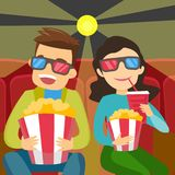 Kaukasische Freunde in den Gläsern 3d Film aufpassend Lizenzfreie Abbildung