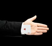 Kaukasische männliche Hand in einem Anzug lokalisiert Lizenzfreie Stockfotos
