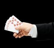 Kaukasische männliche Hand in einem Anzug lokalisiert Lizenzfreies Stockfoto
