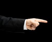 Kaukasische männliche Hand in einem Anzug lokalisiert Stockfotografie