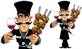 Kaukasische Mens met Barbecue en Wijn Stock Afbeeldingen