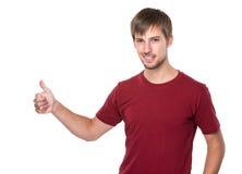 Kaukasische mens met omhoog duim Stock Afbeeldingen