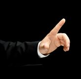 Kaukasische männliche Hand in einem Anzug lokalisiert Stockfoto