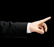 Kaukasische männliche Hand in einem Anzug lokalisiert Lizenzfreie Stockfotografie