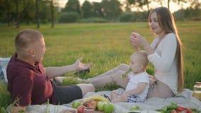 Kaukasische mooie familie met zuigelingsbaby die groenten eten die op groen gras in platteland zitten stock videobeelden