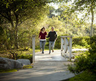 Kaukasische Paare, die auf im Freien hölzerne Brücke laufen Lizenzfreie Stockfotografie