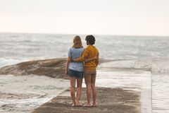 Kaukasische Paarstellung auf Felsen nahe Strand stockbild