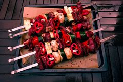 Kaukasische shashlikvleespennen met vlees en groenten Royalty-vrije Stock Foto