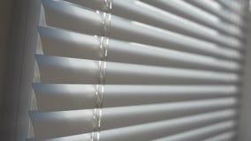 Kaukasische vingers die blind venster openen om buiten te kijken Het piepen door wit blind venster om buiten te zien Klein wit stock videobeelden