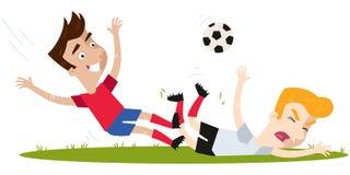 Kaukasische voetballer die blonde tegenstander op voetbalgebied aanvallen vector illustratie