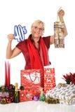 Kaukasische vrouw, het winkelen zakkorting Stock Foto's