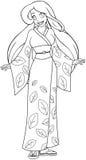 Kaukasische Vrouw in Kimono Kleurende Pagina Stock Afbeelding